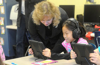State school leader sees digital classroom tools in action