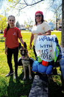 Mother, daughter and dog walking for Relay for Life